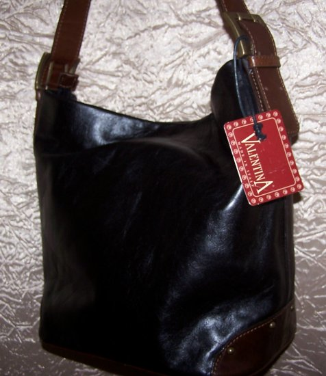 Valentina Italian Leather Bucket Tote Shoulder Bag in Black and Brown
