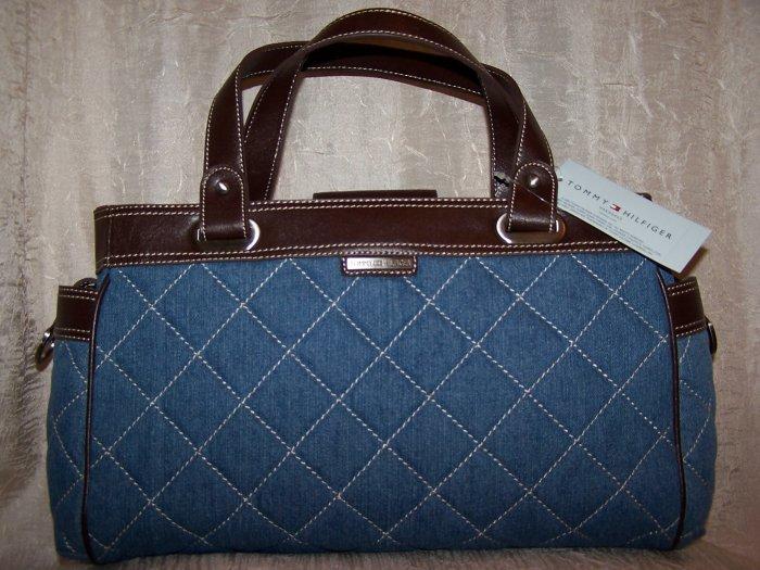 Tommy Hilfiger Ionic Totes Medium Quilted Denim Tote Handbag