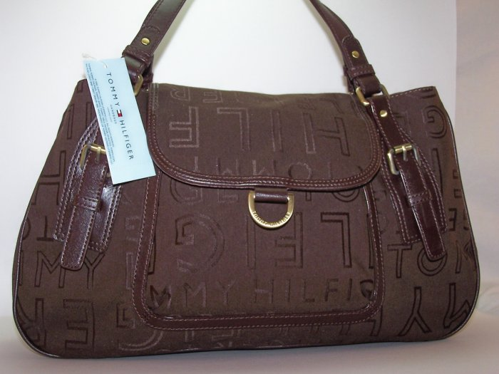 Tommy Hilfiger Montana Signature Print Satchel Style Tote in Brown