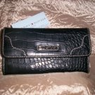 Tommy Hilfiger Swing Shift Black Croco Leather Clutch Wallet
