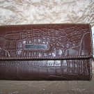 Tommy Hilfiger Swing Shift Brown Croco Leather Clutch Wallet