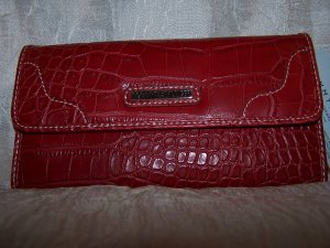 Tommy Hilfiger Swing Shift Red Croco Leather Clutch Wallet