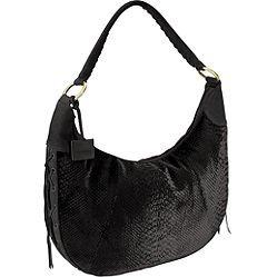 Via Spiga Emma Python-Embossed Velvet and Suede Shoulder Bag in Black