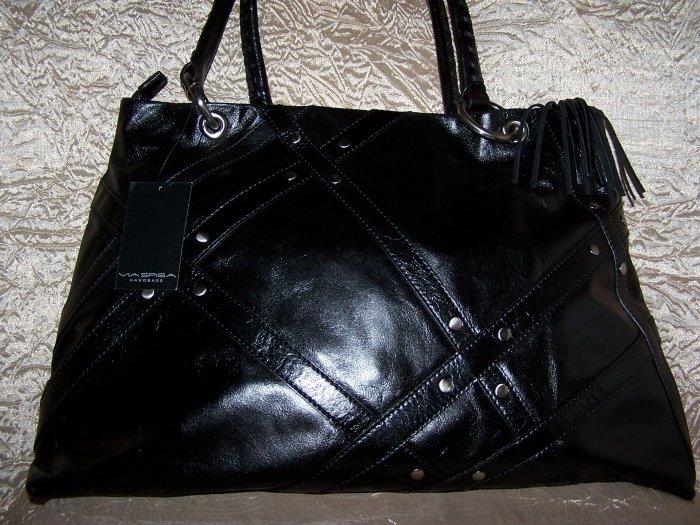 Via Spiga Nikki Leather Studded Tote in Black