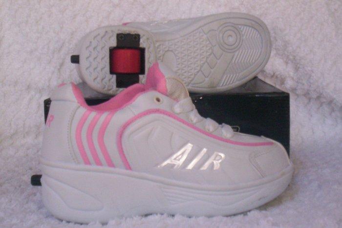 Air Skate Brand Heelies / Wheelies in White/Pink Youth Size 4