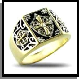 Yellow And White Gold Plated Christian Crusader Ring