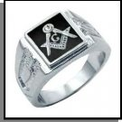 Rhodium With Black Freemason Ring