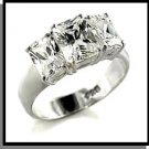 Beautiful 3 Stone CZ Wedding Ring Sterling Silver