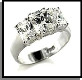 Beautiful 3 Stone CZ Wedding Ring Sterling Silver