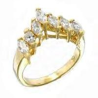 Russian CZ Marquise Wedding Ring