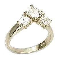 Sterling Silver Princess Cut Russian CZ Ring