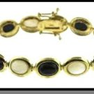 18 Karat Gold Over Sterling Silver Genuine Mother Of Pearl & Onyx Stone Bracelet
