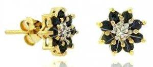 Genuine Sapphire And Genuine Diamond Flower Earrings
