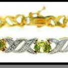 Genuine Peridot & Diamond Accent Bracelet