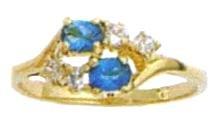 December Blue Topaz Russian CZ Birthstone Ring