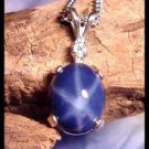 "Sterling Silver Blue Star Sapphire 10x8 mm Pendant With White Topaz Accent With 18""Chain"