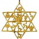 Gold Layered Twelve Tribes of Israel Star Shaped Pendant
