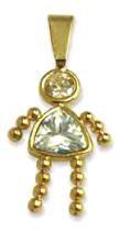 April Girl Birthstone Baby Kids With Imitation Diamond CZ Gold CZ-7