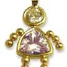 June Girl Birthstone Baby Kids With Alexandrite CZ Gold CZ-11