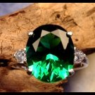 Deep Green 5.30 Carat Oval Helenite Ring