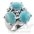 Imitation Turquoise CZ 3 Stone Cocktail Ring