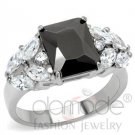 Princess Cut Black CZ Stainless Steel Ring Marquise Accents
