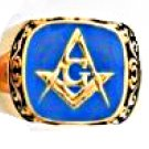Scroll Design Blue Freemason Masonic Ring