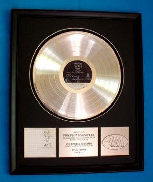 "PINK FLOYD PLATINUM RECORD AWARD ""THE WALL"""