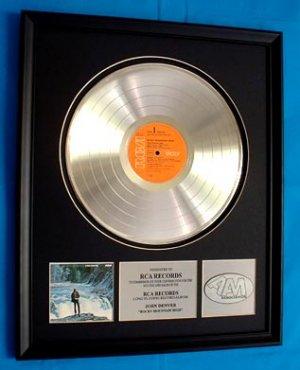 """JOHN DENVER PLATINUM RECORD AWARD """"ROCKY MOUNTAIN HIGH"""""""