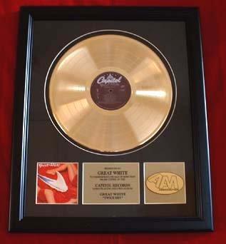 "GREAT WHITE GOLD RECORD AWARD ""TWICE SHY"""