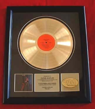 "JANIS JOPLIN GOLD RECORD AWARD ""PEARL""  VINTAGE"