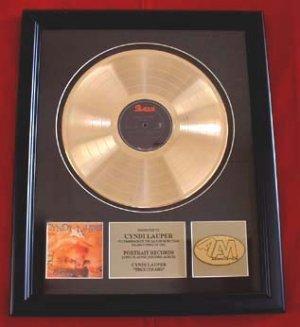"CYNDI LAUPER GOLD RECORD AWARD "" TRUE COLORS"""