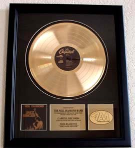 "NEIL DIAMOND GOLD RECORD AWARD ""THE JAZZ SINGER"""