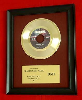 "RICKY NELSON VINTAGE GOLD 45  RECORD AWARD ""TRAVELING MAN"""