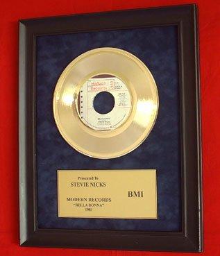 "STEVIE NICKS VINTAGE GOLD 45 RECORD AWARD ""BELLA DONNA"""