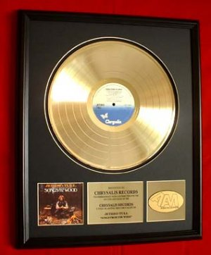 """JETHRO TULL GOLD RECORD AWARD """"SONGS OF THE WOOD"""""""""""
