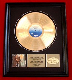 """JETHRO TULL GOLD RECORD AWARD """"AQUALUNG"""""""