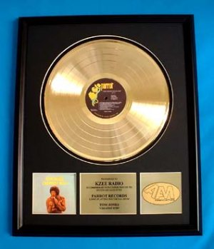 TOM JONES GOLD RECORD AWARD - GREATEST HITS