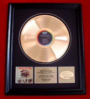 THE BEATLES 65' VINTAGE GOLD RECORD AWARD