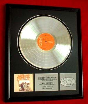 "JOHN DENVER PLATINUM RECORD AWARD ""BACK HOME AGAIN"""