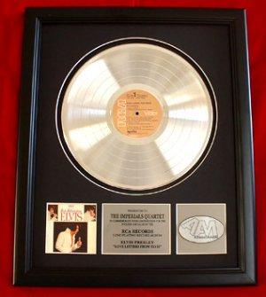 "ELVIS PRESLEY PLATINUM RECORD AWARD ""LOVE LETTERS"""