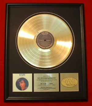 "ELVIS PRESLEY GOLD RECORD AWARD ""A LEGENDARY PERFORMER"""