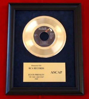 "ELVIS PRESLEY VINTAGE GOLD 45 RECORD AWARD ""IN THE GHETTO"""