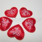 "Padded Red ""I love you"" Heart Applique (50 pcs) (EM-1002-50)"