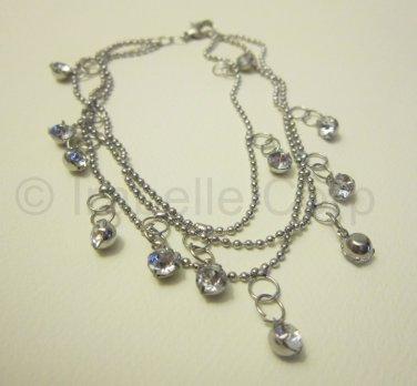3 Chains Rhinestone Anklet (EM-1003)