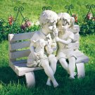 Children and Dog Eating Ice Cream on Bench Sculpture