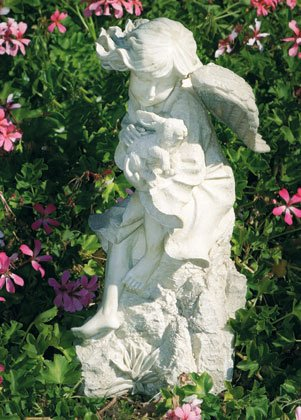 Angel With Bunny Garden Sculpture
