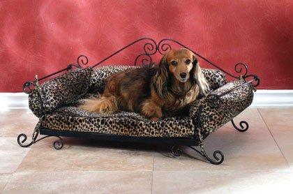 Leopard Print Metal Pet Bed