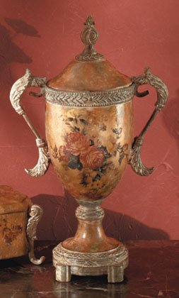 Antique-Look Rose Design Decorative Urn With Lid.