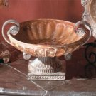 Antique-Look Rose Design Compote With Mottled Copper Finish.